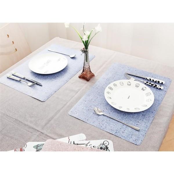 Double-side Linen Prints Waterproof Placemat, Blue, 1PC