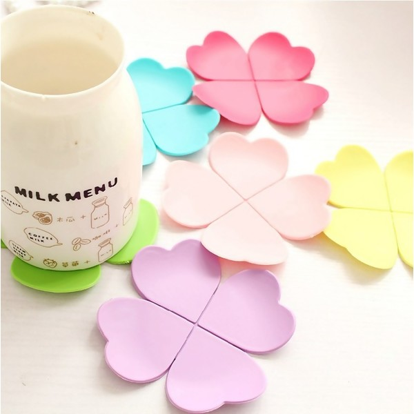 Four Leaf Clover Silicone Coaster, 6PCs/Set