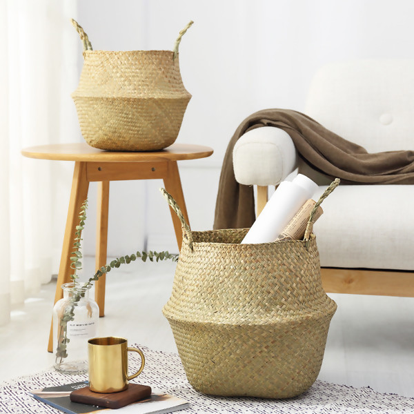 Hot Household Foldable Natural Seagrass Woven Storage Pot Garden Flower Vase Hanging Basket With Handle Storage Bellied Basket 32*28*25cm