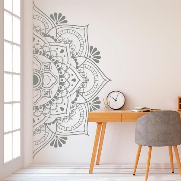 Mandala in Half Wall Sticker Decor for Home Removable Vinyl Sticker for Meditation Yoga Wall Art Living Room Bedroom Mural Gray 57x113cm