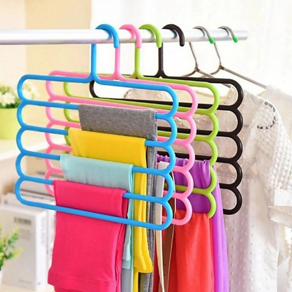Random Color 5 Layer Plastic Hangers, 4pcs / set